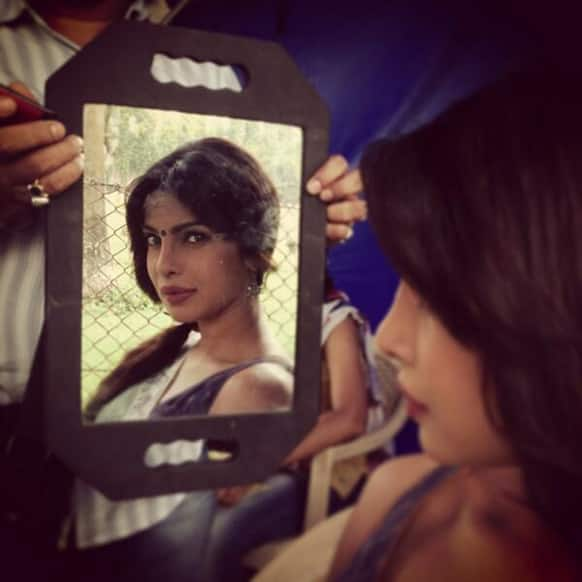 Priyanka Chopra on the sets of 'Gunday'. Image courtesy: @aliabbaszafar