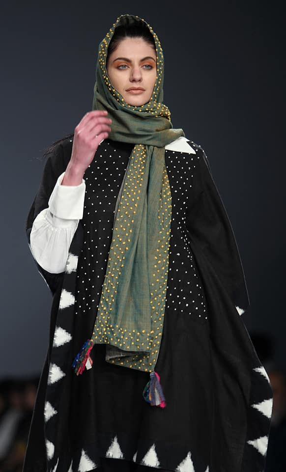 A model displays a creation by Paromita Banerjee during the Wills Lifestyle India Fashion Week.