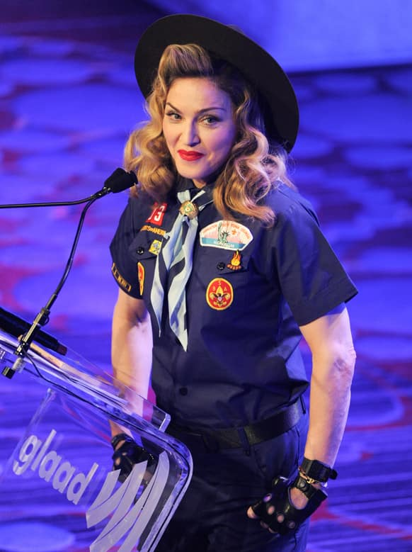 Madonna addresses the audience at the 24th Annual GLAAD Media Awards at the Marriott Marquis, in New York. Madonna presented CNN news anchor Anderson Cooper with the Vito Russo Award.