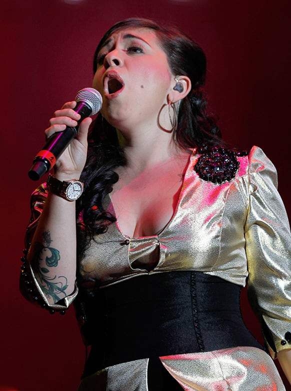Mexican musician Carla Morrison performs at Vive Latino music festival in Mexico City.