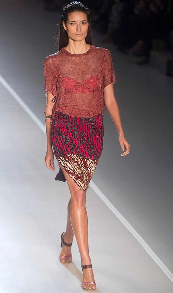 A model wears a creation from the Animale summer collection during the Sao Paulo Fashion Week.