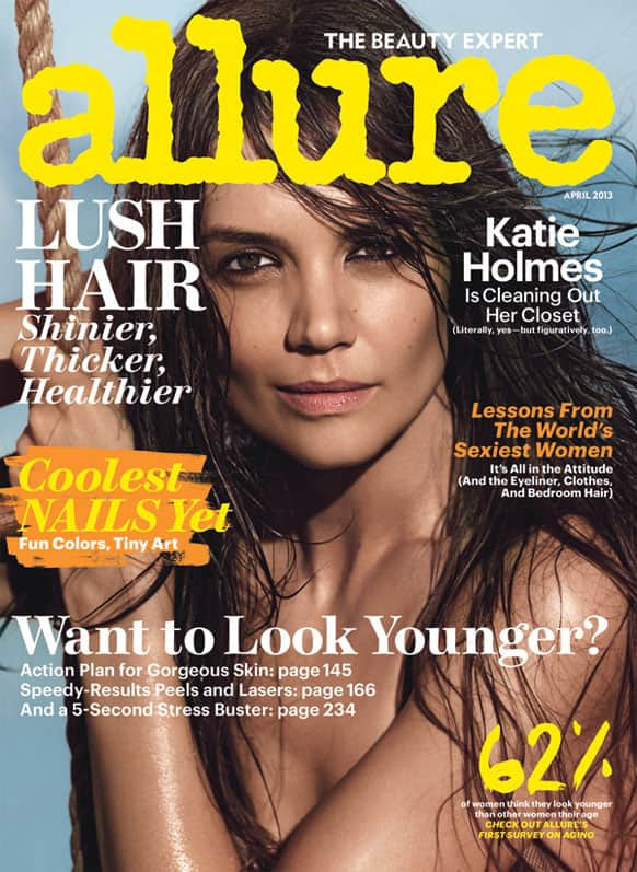 This magazine cover image released by Allure shows actress Katie Holmes on the cover of the April 2013 issue.