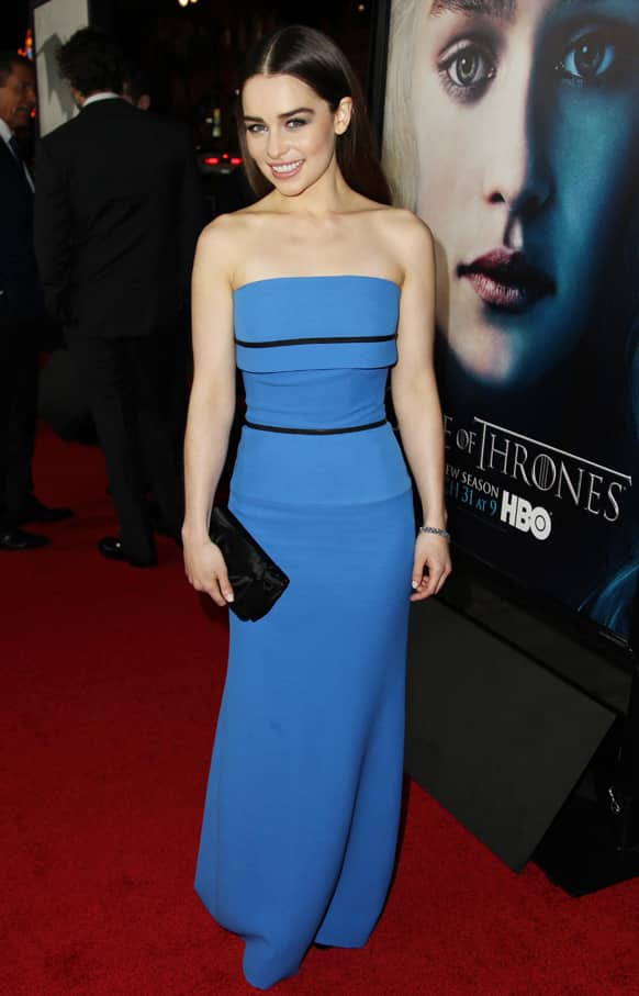 Cast member Emilia Clarke arrives at the premiere for the third season of the HBO television series