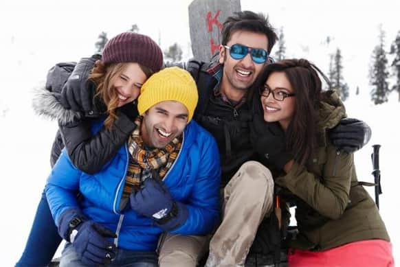 Ranbir Kapoor, Deepika Padukone, Aditya Roy Kapur and Kalki Koechlin in a still from 'Yeh Jawaani Hai Deewani'.