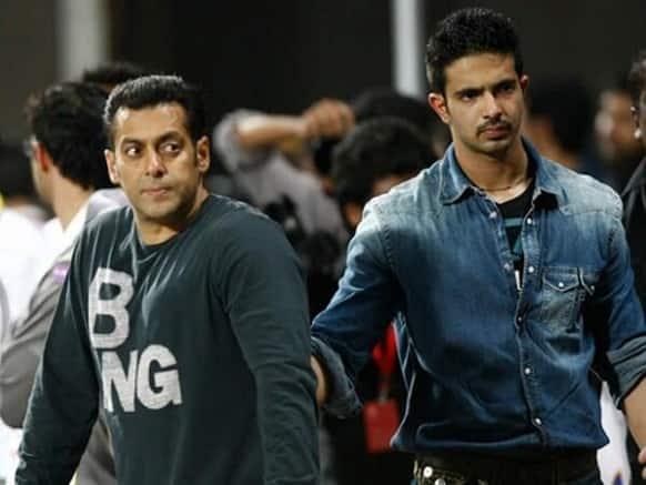 Salman Khan with Tiger - his bodyguard Shera's son. Image courtsey: Filmfare