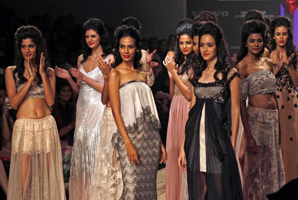 Models display creations by Shehlaa during the Lakme fashion week in Mumbai.