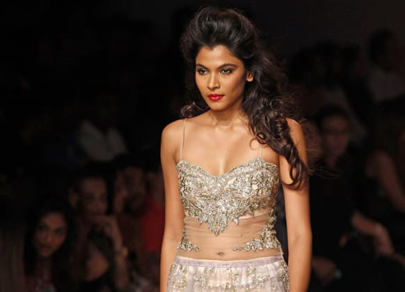 A model displays a creation by Shehlaa during the Lakme fashion week in Mumbai.