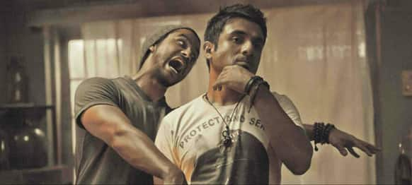Kunal Khemu and Vir Das in a new still from the zombie comedy 'Go Goa Gone'.