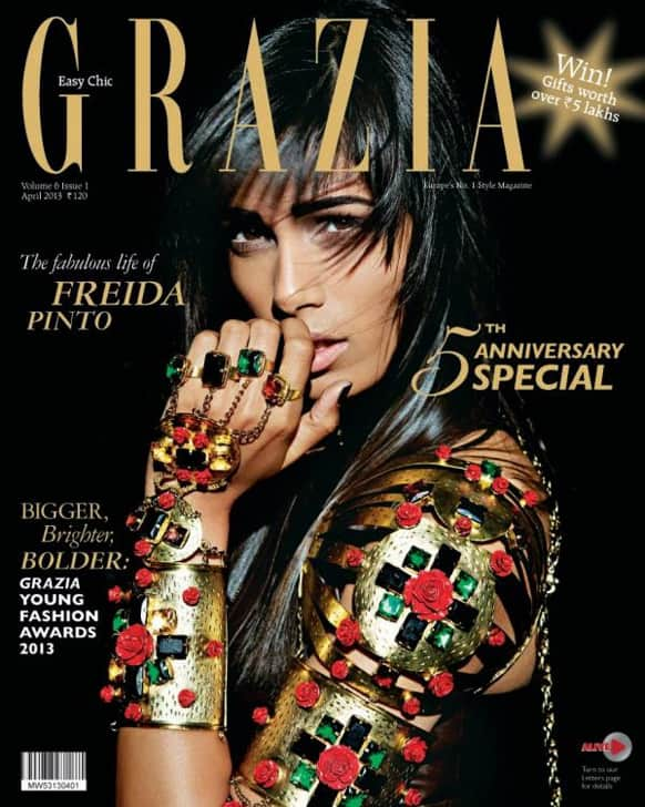 Freida Pinto graces the cover of the April 2013 issue of Grazia.