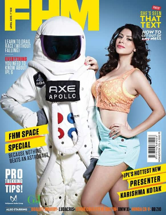 Karishma Kotak adorns the cover of the April 2013 issue of FHM.