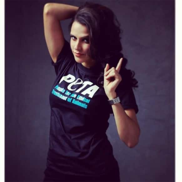 Neha Dhupia, the official brand ambassadress of PETA India, strikes a pose for the organisation's 'go veg' campaign.
