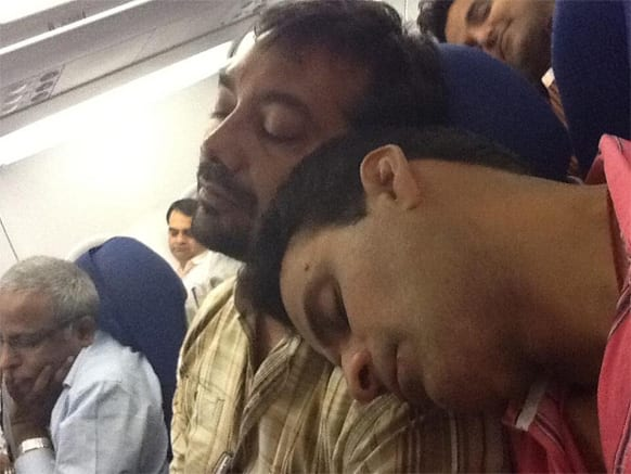 Actor Manjoj Bajpayee and 'Gangs of Wasseypur' director Anurag Kashyap were clicked catching up with some sleep on an air flight. The picture dates back 'Gangs of Wasseypur' shooting days. It was tweeted by actress Richa Chadda.