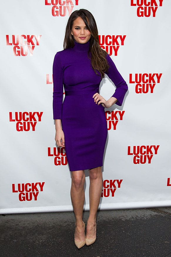 Christine Teigen arrives at the Lucky Guy Opening Night, in New York, NY.