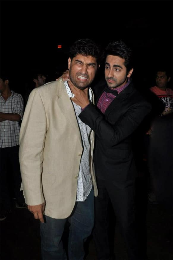 Kunaal Roy Kapoor and Ayushmann Khurrana at 'Nautanki Saala' music success party.