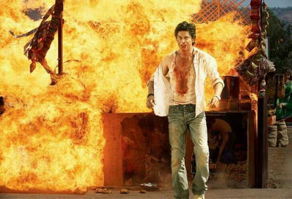 Shah Rukh Khan in an action-packed still from 'Chennai Express'.