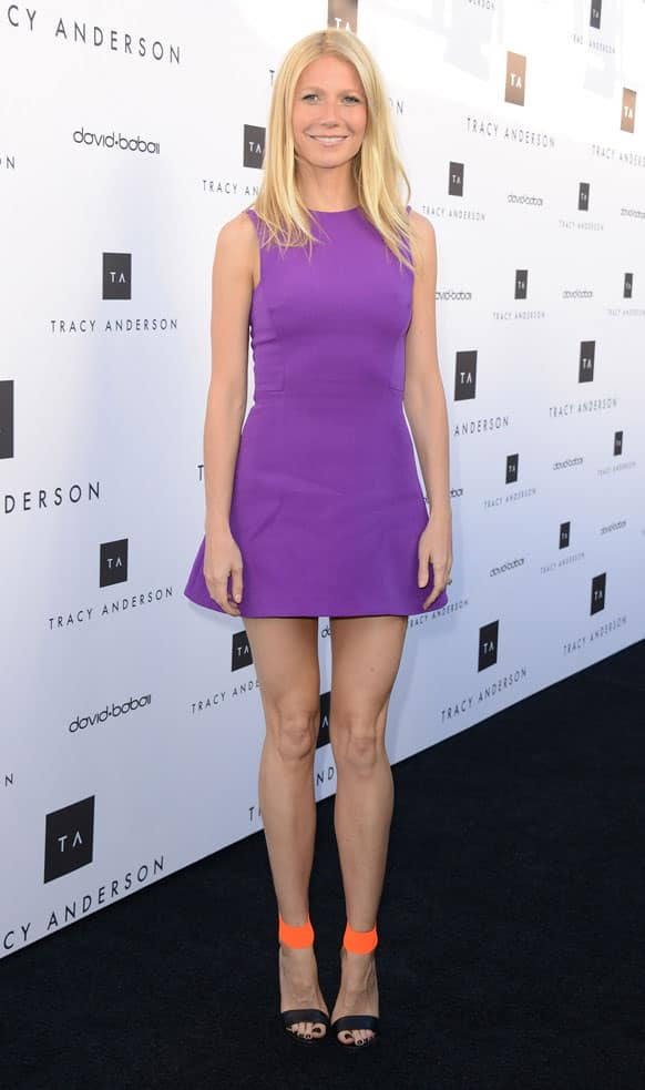 Gwyneth Paltrow arrives at the opening of the Tracy Anderson flagship studio, in Los Angeles.