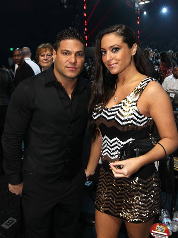 Ronnie Ortiz-Magro, left, and Sammi Giancola at the MTV Movie Awards in Sony Pictures Studio Lot in Culver City, Calif.