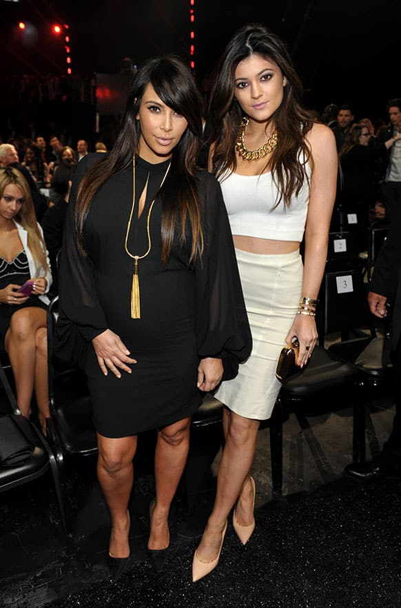 Kim Kardashian and Kylie Jenner at the MTV Movie Awards in Sony Pictures Studio Lot in Culver City, Calif.