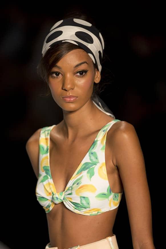 A model wears a creation from Salinas summer collection during Fashion Rio, in Rio de Janeiro, Brazil.