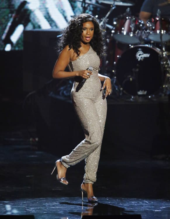 Jennifer Hudson performs in tribute as Donna Summer is posthumously inducted into the Rock and Roll Hall of Fame during the Rock and Roll Hall of Fame Induction Ceremony at the Nokia Theatre in Los Angeles.