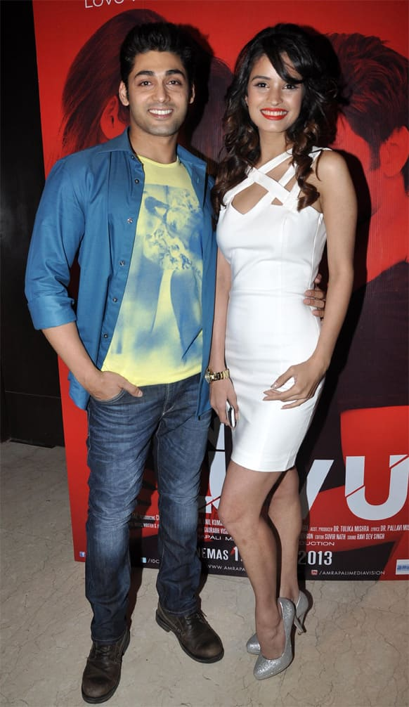 Ruslaan Mumtaz and debutante Chetna Pande at the 'I Don't Luv U' music launch party.