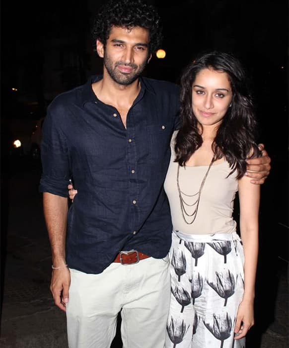Aditya Roy Kapur and Shraddha Kapoor pose for a photograph at the special screening of 'Aashiqui 2' that took place in Mumbai recently.