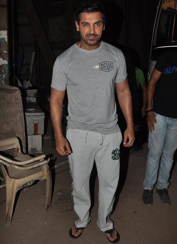 John Abraham was spotted on the sets of a TV show to promote his upcoming film 'Shootout At Wadala'.