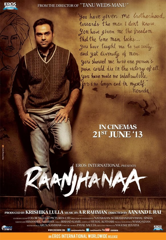 Abhay Deol in a poster of 'Raanjhnaa'. The film also stars Dhanush and Sonam Kapoor in pivotal roles.