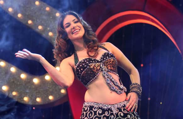 Adult film star Sunny Leone performs during a promotional event for the upcoming movie 'Shootout At Wadala' in Ahmadabad.