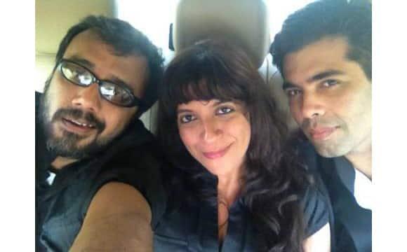 Karan Johar poses with director Dibakar Banerjee and Zoya Akhtar.   Image Coutesy: @kjohar25