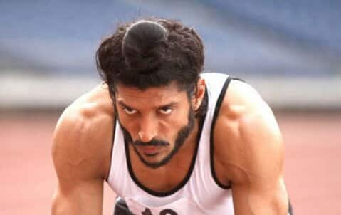 Farhan Akhtar in a still from 'Bhaag Milkha Bhaag', which is based on the life of life of athlete Milkha Singh.