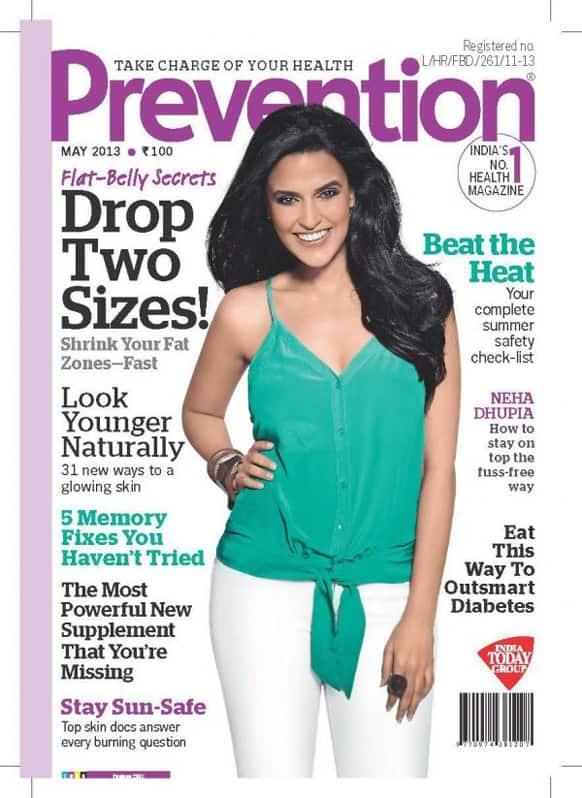 Neha Dhupia graces the cover of the May 2013 issue of Prevention.