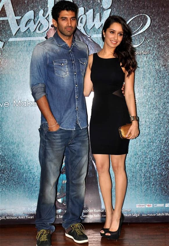 Aditya Roy Kapur and Shraddha Kapoor at the success bash for 'Aashiqui 2'. The film, which starred the two actors in lead roles, hit theatres April 26.