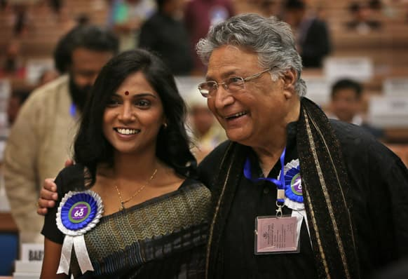 Usha Jadhav and Vikram Gokhale attend the National Film Awards 2012, in New Delhi. Jadhav was awarded the Best Actress and Gokhale the Best Actor.