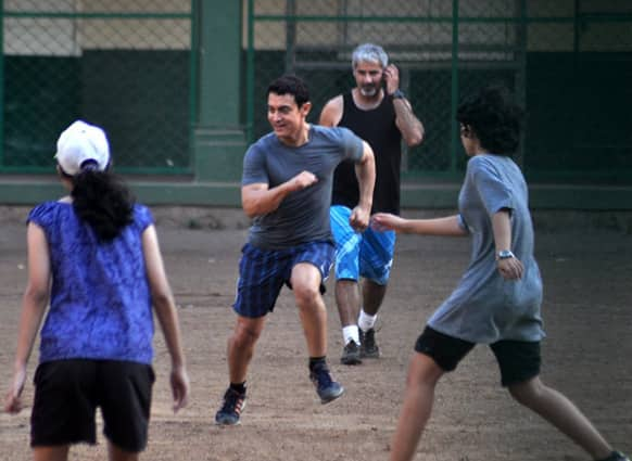Aamir Khan was recently spotted in the midst of a fun family football match!