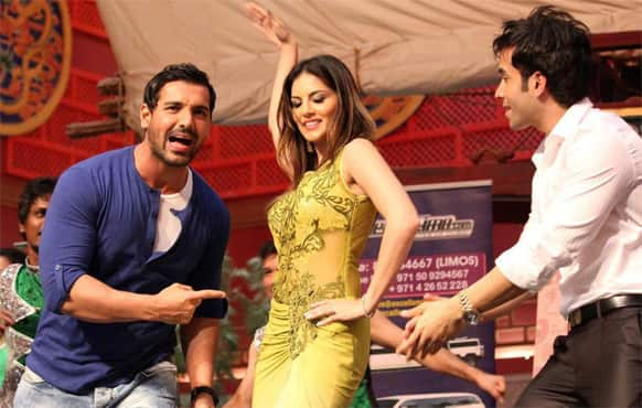 John Abraham, Sunny Leone and Tusshar Kapoor at a promotional event for 'Shootout At Wadala'. The film, which hit theatres May 3, has been declared a hit at the BO.