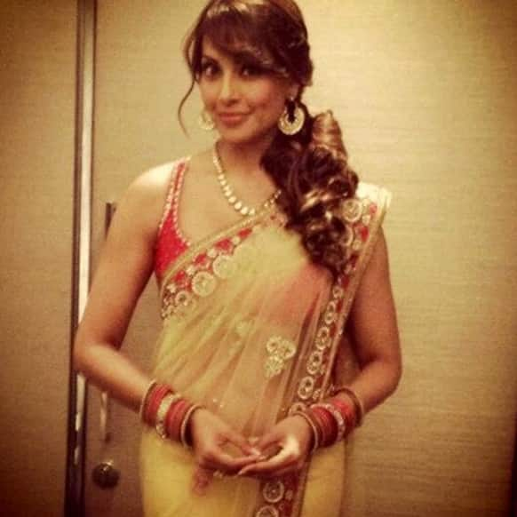Bipasha Basu dressed up for a friend's Sangeet.