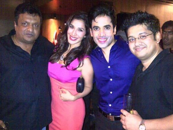 Sophie Choudry with Tusshar Kapoor and Sanjay Guptaat the 'Shootout at Wadala' success party. Image courtesy: @sophie_choudry