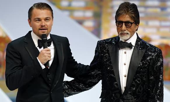 Leonardo DiCaprio and Amitabh Bachchan at the opening ceremony of Cannes Film Festival 2013.