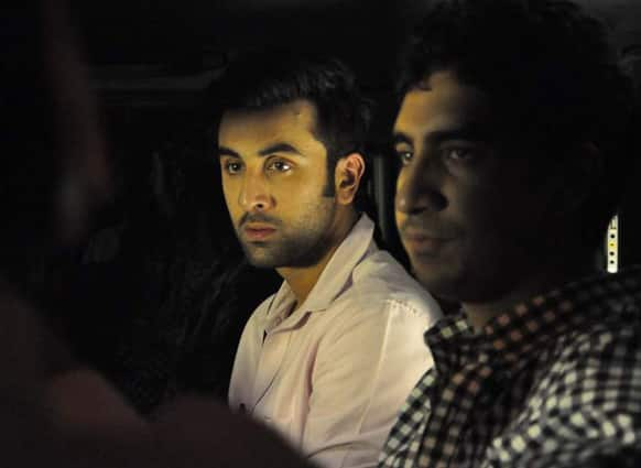 Ranbir Kapoor and Ayan Mukherji were spotted visiting Sanjay Dutt's residence.