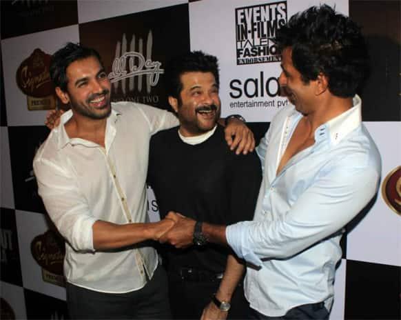 John Abraham, Anil Kapoor and Sonu Sood share a laugh at the success bash of 'Shootout At Wadala'.