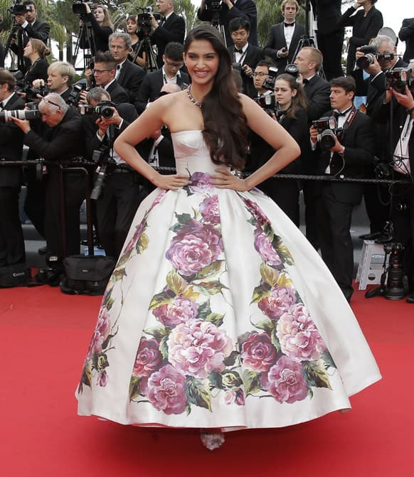 Sonam Kapoor arrives for the screening of the film Young & Beautiful at the 66th international film festival, in Cannes.