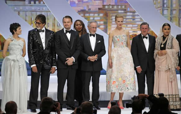 Audrey Tautou, Amitabh Bachchan, Leonardo DiCaprio, director and jury president Steven Spielberg, actors Nicole Kidman, Daniel Auteuil and Vidya Balan acknowledge applause during the opening ceremony ahead of the screening of The Great Gatsby at the 66th international film festival, in Cannes.