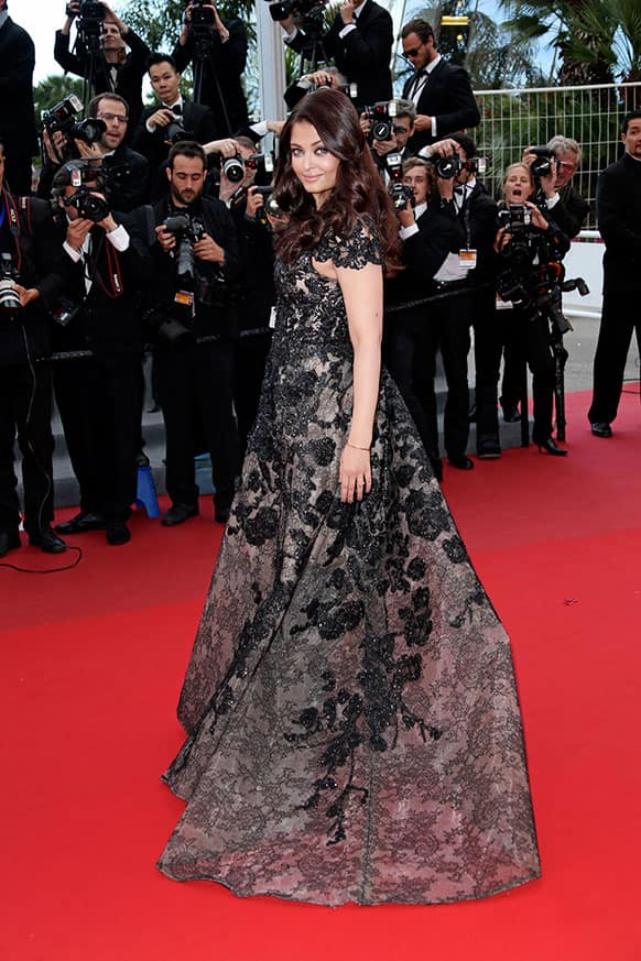 Actress Aishwarya Rai poses for photographers as she arrives for the screening of the film Inside Llewyn Davis at the 66th international film festival, in Cannes.