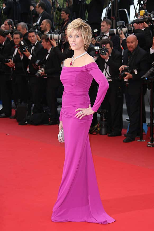 Actress Jane Fonda poses for photographers as she arrives for the screening of the film Inside Llewyn Davis at the 66th international film festival, in Cannes.