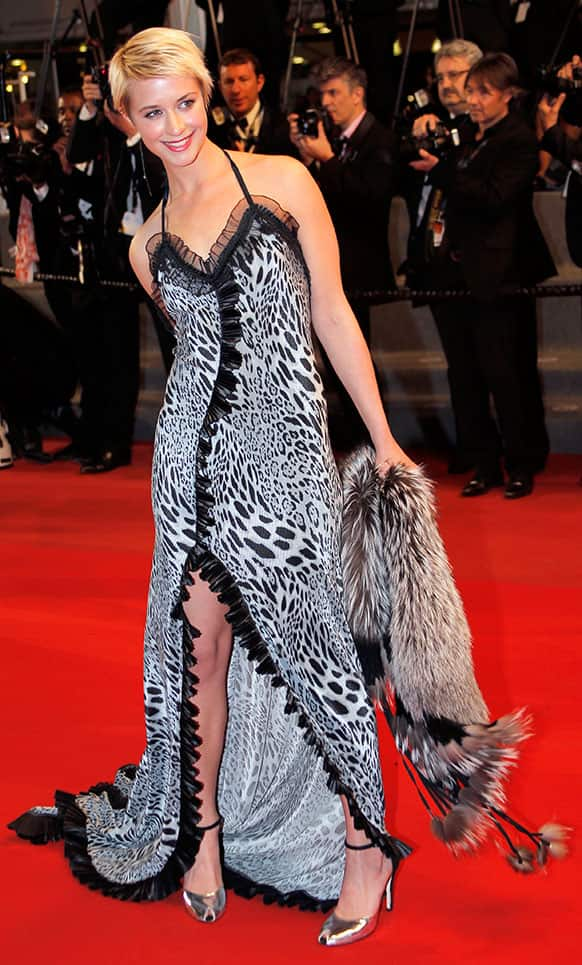 Actress Sara Hjort Ditlevsen arrives for the screening of the film Borgman at the 66th international film festival, in Cannes.