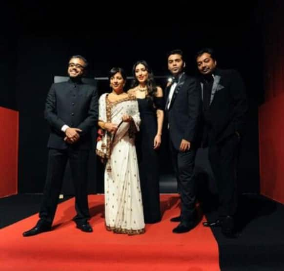 Team 'Bombay Talkies' comprising Zoya Akhtar, Ashi Dua, Karan Johar, Anurag Kashyap and Dibarkar Bannerjee pose for the cameras during of the screening of the film at the Cannes fiilm festival.