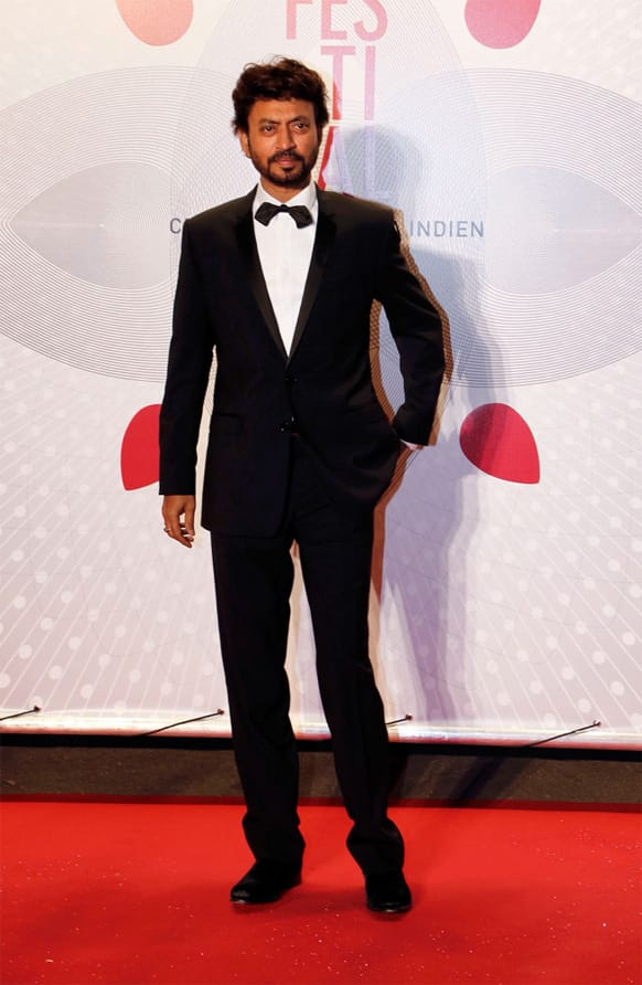 National Award winner Irrfan Khan poses for a photograph at the ongoing Cannes Film Festival.