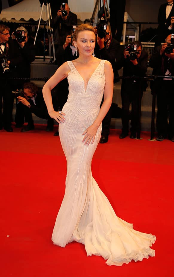 Singer Kylie Minogue arrives on the red carpet for the screening of The Great Beauty at the 66th international film festival, in Cannes.