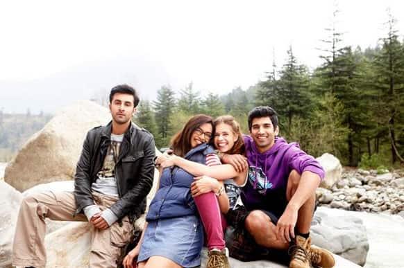 Ranbir, Deepika, Kalki and Aditya having a fun time in each others' company.